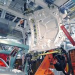 AutoGuide Robot Guidance Solution Loading Automotive hood in-line